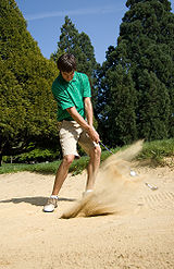 When you play a bunker shot properly, the sand flies up in a plume--but in reality it's a small amount of sand, only about half a cup