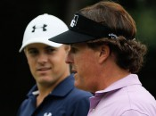 Phil Mickelson (foreground) mentors Jordan Spieth in a pre-Tour Championship round of money golf (Photo: Getty Images)